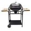 "22"" Round Backyard BBQ Grill With 2 Side Tables"