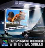Slim flip down monitor