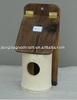 wooden bird feeder and house