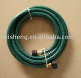 green garden hose with quick connectors