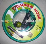 green garden hose set with multi function spray gun