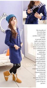 Hot wholesale Free shipping winter thicker long sleeve comfortable thermal maternity dress