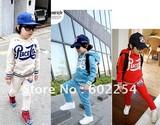 Hot wholesale!!! Free shipping 100% cotton long sleeve fashion boy's clothing sets