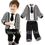 Hot wholesale!!! Free shipping 100% cotton long sleeve fashion kid's sets
