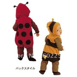 Hot wholesale!!! Free shipping cute ladybug and bee design velour baby rompers