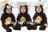 Hot wholesale!!! Free shipping cute monkey design velour baby's rompers