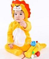 Hot wholesale!!! Free shipping cute lion design velour baby bodysuit