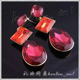 New Fashion stud earring with huge rose color rhinestone  Crystals