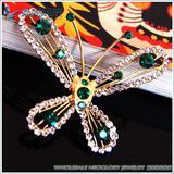 Fashion enamel butterfly brooch pin with Rhinestone crystals