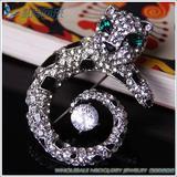 Fashion cute leopard brooch pin with Rhinestone crystals