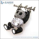 Cute panda bamboo brooch pin with Rhinestone crystals