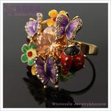Fashion floral butterfly ladybug ring with rhinestone crystals