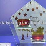 Hand painting glass candle holder in Christmas des