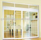 PVC sliding door; white window
