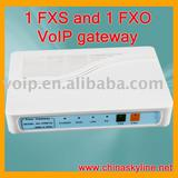 1 FXS and 1 FXO VoIP gateway with H.323 and SIP