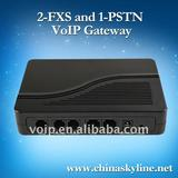 2 FXS and 1 PSTN VoIP gateway with H.323 and SIP,support pstn voip