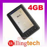 "100% New 7"" E-BOOK READER 4GB Support MP3 Mp4 Video 4G black"