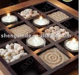 Candle Wood Tray Square