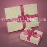 bright pink silk ribbon cardboard gift box