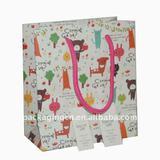 cartoon paper gift bag with cards, cardboard bag