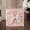 Blank Wedding invitation cards 2017 bowknot laser cut birthday graduation party invitations