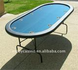 """Premium 84"""" Oval Blue Suited Speed Cloth Poker Table w/ Stainless Steel Cups"""