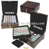 500pc casino customized mahogany poker chips set