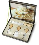 High-class Cheese Knife set and glass cutting board with gift box
