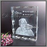 crystal 2D laser,photo engrave in the crystal block,1PC MOQ