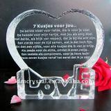 Crystal laser gift,Love shape iceberg,customized photo available