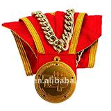 Awarding gold medal with string