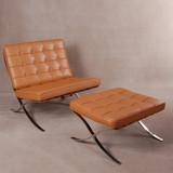Aniline Leather White Barcelona Chair Ottoman Barcelona Chair