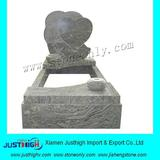 wave sand yellow granite heart tombstone design