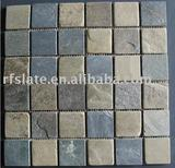 Mix black and rusty mosaic slate with mesh