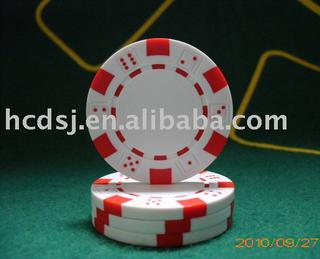 Dice style poker chip-White with red dots