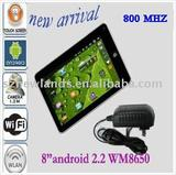 Android 2.2 Tablet PC 8 inch VIA WM8650 Support Flash 10.1 with Wifi