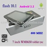 7 inch VIA WM8650 Android 2.2 Tablet PC Support Flash 10.1 with Wifi