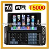 T5000 WIFI TV Dual Sim Card Dual Camera Quad Band Cell Unlocked Mobile Phone With Qwerty Full Keypad 3.6inch Screen