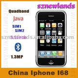 China Mobile Phone I68, i68+, dual sim card , Quad band, 3.2inch, 2.0mp, double bluetooth, JAVA 2.0