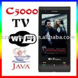 "China Mobile Phone C5000 TV+WIFI+JAVA+Bluetooth+2.0MP Camera+3.2"" TouchScreen+QuadBand+Dual Sim Card Cell Phone"