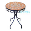 Wrought iron and terra cotta mosaic round table
