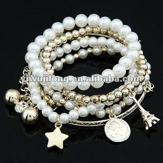 fashion jewelry,2012 new pearl with charms bracelet JLD-10045