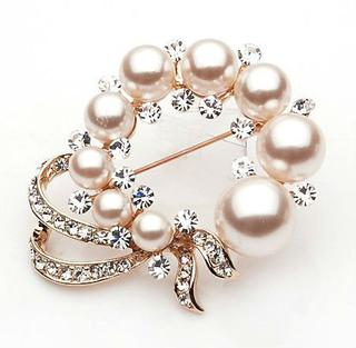 Alloy brooch decorated with beads TBB0003
