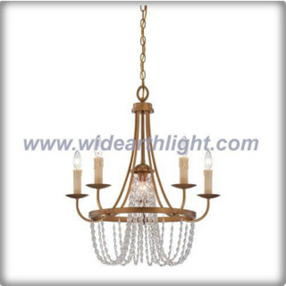 Four candle lights brass chandelier with crystal chain (C80314)