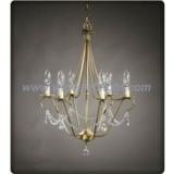 Lantern shape gold finish chandelier with crystal tear drop pendants (C60017)