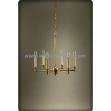 Gold painted antique brass chandelier lamp with candle light at the same level (C60018)