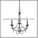 Italian 3 arms black nickel chandelier lamp with pendants (C80328)