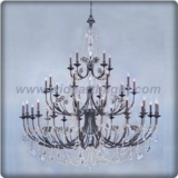 Three layers bronze plated chandelier lamp with crystal chains and pendants (C80794)