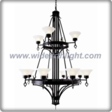 Moern two layer white glass shade black painted chandelier lamp (C80798)