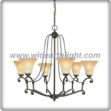 Bronze plated chandelier lamp with six upward glass shade (C80882)